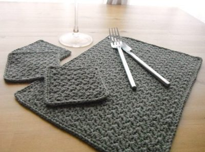grit stitch placemat & coaster set