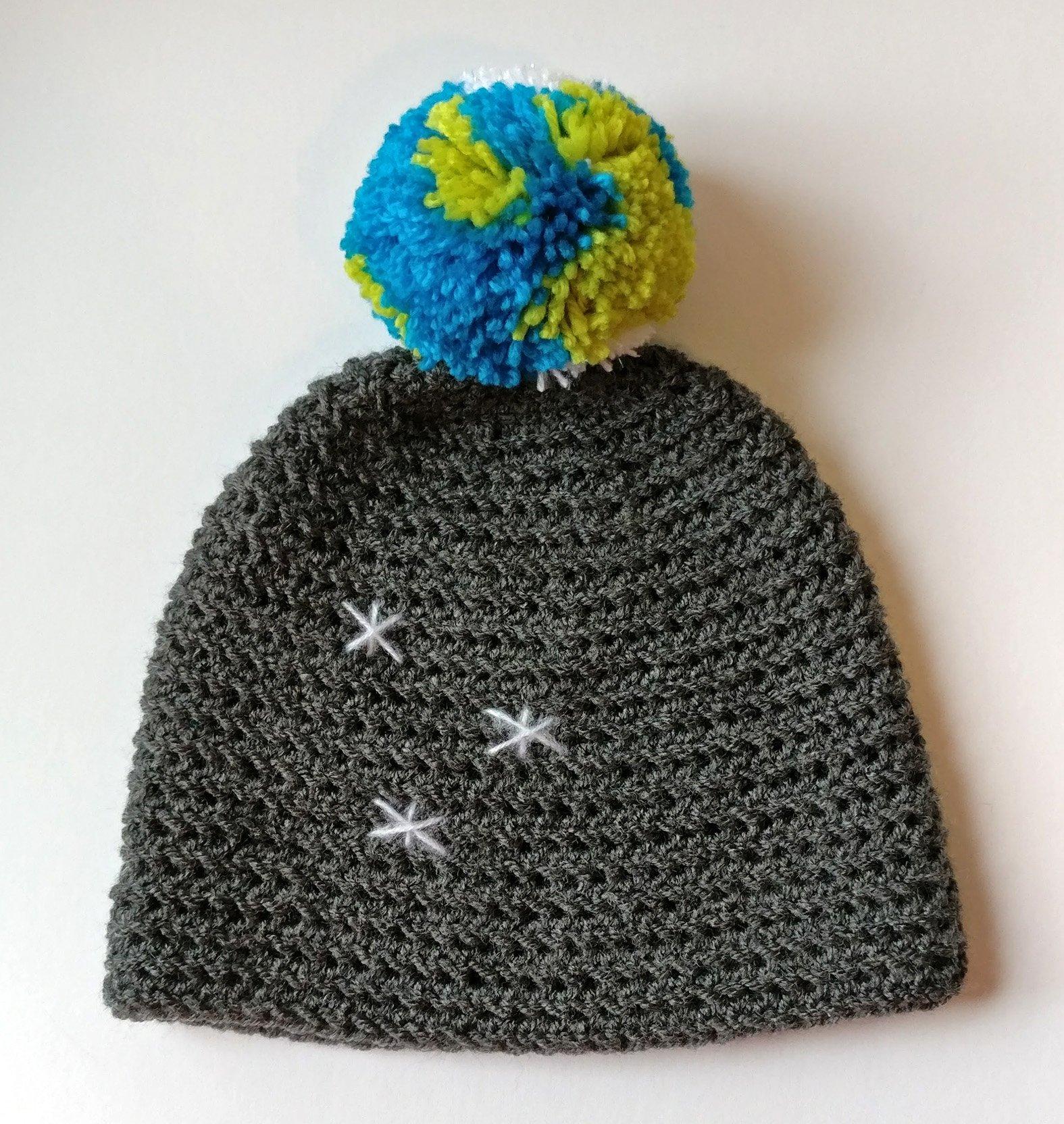 Earth in space crochet hat