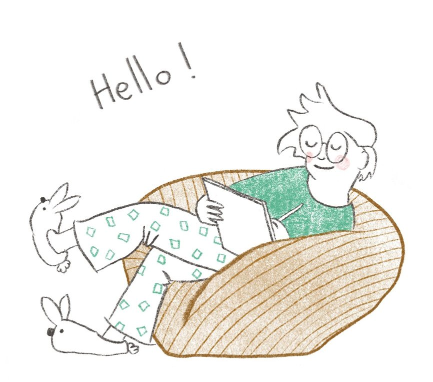 hello illustration sketching with bunny slippers and a beanbag by Nicola Schofield