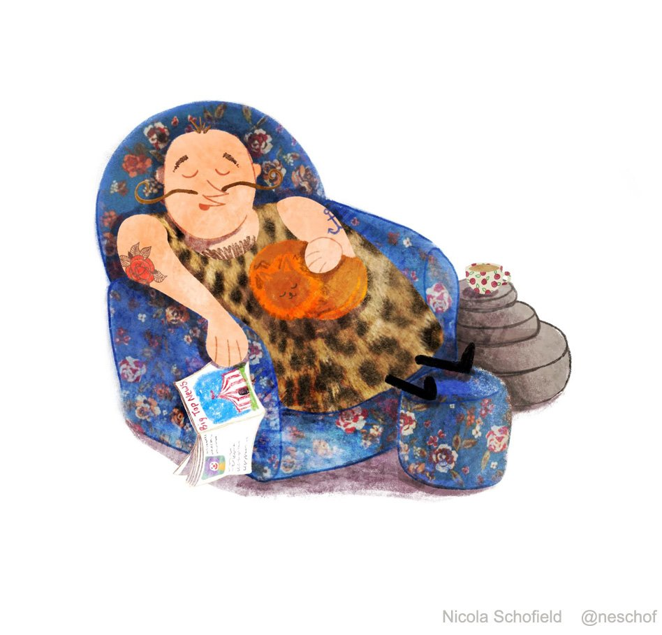 circus strongman asleep in floral chair illustration by Nicola Schofield