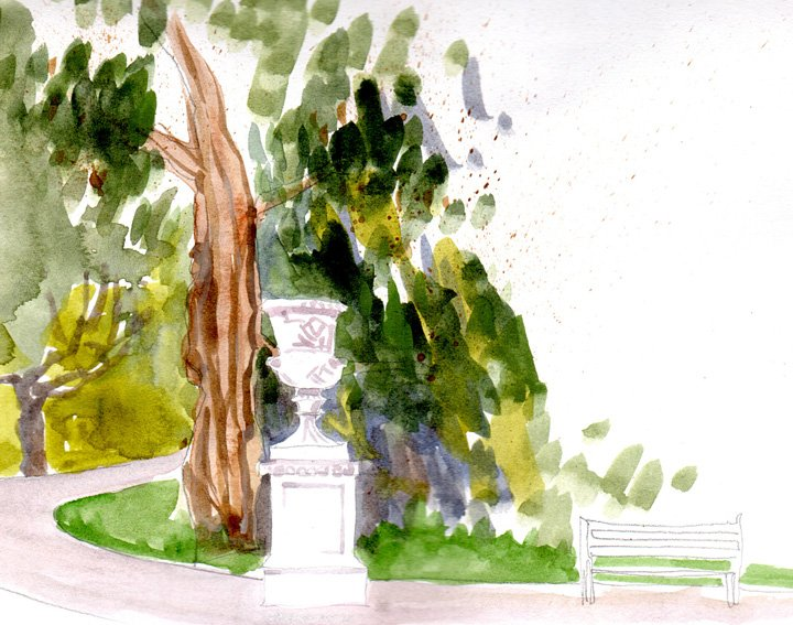 Bath Victoria Park watercolour sketch on location by Nicola Schofield