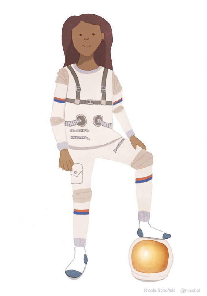 girl in astronaut pyjamas character illustration by Nicola Schofield