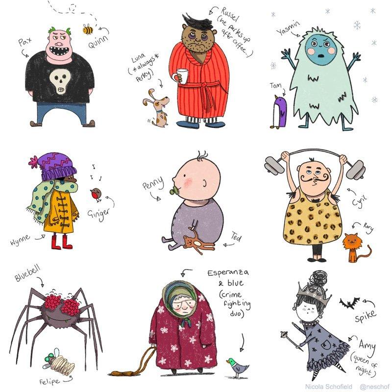character and sidekick illustration sheet by Nicola Schofield