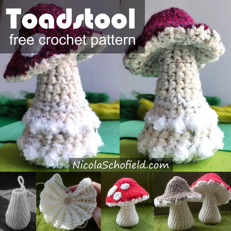 Toadstool free crochet pattern by Nicola Schofield
