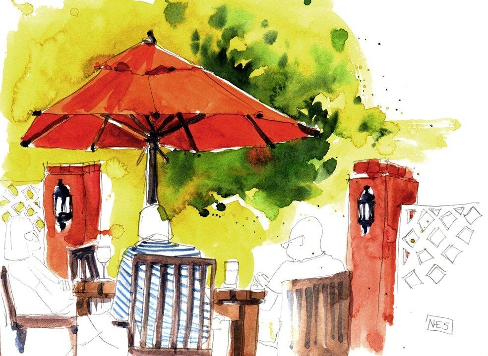 Pub Lunch watercolour urban sketch by Nicola Schofield