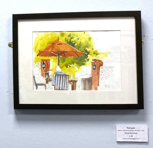 pub lunch watercolour by Nicola Schofield hanging in RBH